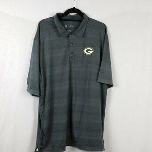Green Bay Packers Nike Dri Fit Polo Gray Stripe XL